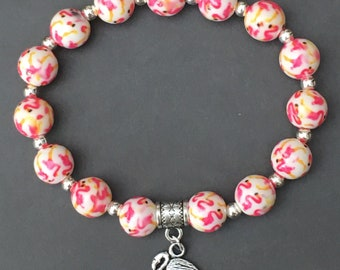 Flamingo bead bracelet