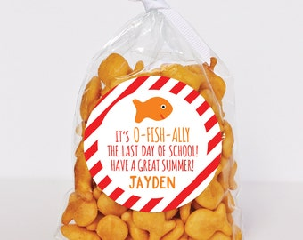 "Last Day of School Stickers - ""O-FISH-Ally The Last Day"" - Sheet of 12 or 24"