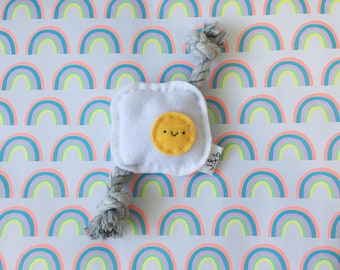 Egg Sunny Side-up Dog Puppy Toy Squeaker Rope