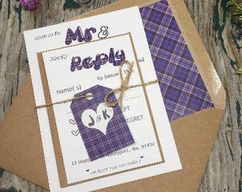 Scottish tartan wedding invitations - Mr and Mrs samples