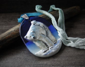 Polar Bear Mom and Baby in the snow - Artic fused glass pendant,