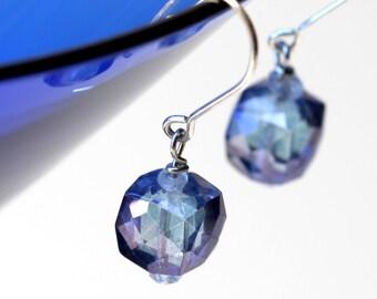 Blue Mystic Quartz Dangling Earrings on Sterling Silver Ear Wire
