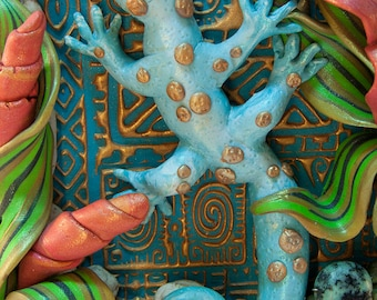 Turquoise Gecko Wall Sculpture
