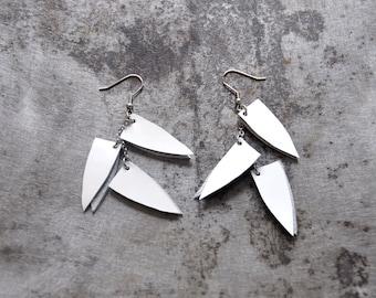 Leather statement Earring, White long earrings, Gypsy earrings, Minimal geometric, Bohemian jewelry, Geometric leather earrings, For her