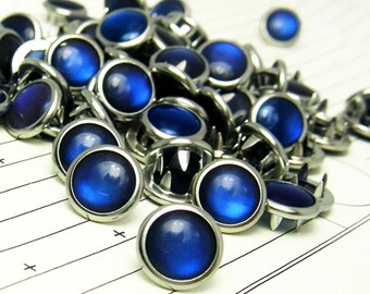 24 Cobalt Blue Cowgirl Snaps Pearl Prong Western Snaps