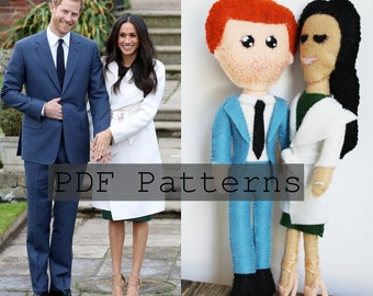 PDF PATTERN BUNDLE: Prince Harry and Meghan Markle Engagement Felt Dolls