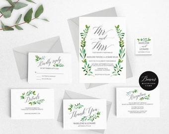 Rustic Wedding Invitation Template, Mr Mrs Wedding Invitation Printable, Vintage Invitation, Cheap Invitation,DIY PDF Instant Download #E018