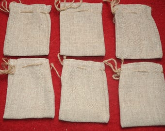 Christmas decoration: set of 6 small burlap bags