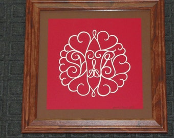 Custom Hearts and Monogram  - Scherenschnitte - Hand Paper Cutting Art signed and dated By Janet Lynch - Framed