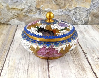Vintage Chinese Cloisonne Jar with Lid, Brass and Enamel