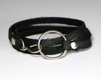 Leather Wrap Bracelet- Triple Wrap Soft Black Leather Bracelet With Handmade Ring And Hook- Black Bracelet- Women's Leather Bracelet
