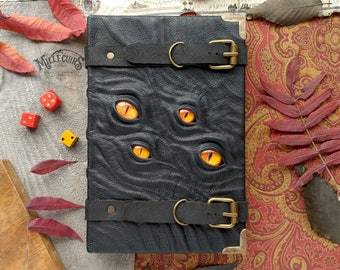 Book with eyes, leather grimoire, handmade journal necronomicon, red eye, orange, black sketchbook, straps buckles, ooak scary halloween art