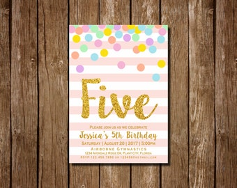 Girl 5th Birthday Invitation, Pink and Gold Fifth Birthday Invitation, 5th Birthday , Pink Invitation, Gold Invitation, Rainbow