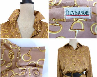 1990s Vintage Devernois Satin Blouse