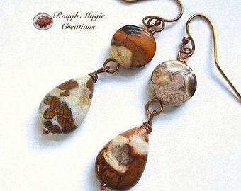 Brown White Gemstone Earrings, Boho Western Earrings, Southwestern Jewelry, Long Dangles, Earthy Spotted Agate Stone, Rustic Copper E128