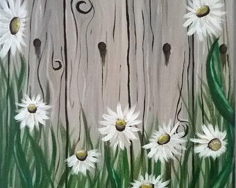 Flowers by fence, farm fence, daisies by fence, fence with daisies, country scene, flower landscape, garden painting, fence painting, daisy