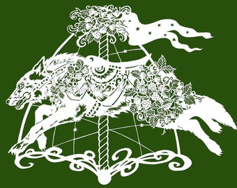 Papercut template, personal use Strawberry the Carousel Wolf, digital instant download .pdf
