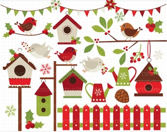 Clipart - Red Robin / Cardinal Christmas / Red Birds / Winter - Digital Clip Art (Instant Download)