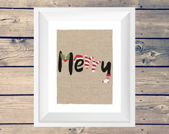 Merry Printable Digital Artwork Print • Christmas Holiday Instant Download • Home Decor Wall Art • Holly, Santa Hat, Stocking & Candy Canes