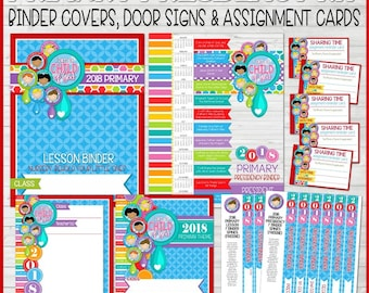 2018 PRIMARY Presidency Kit Binder Covers Door Signs Sharing Time Assignment Cards