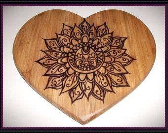 CLEARANCE...!!! Heart shaped Pyrography Mandala