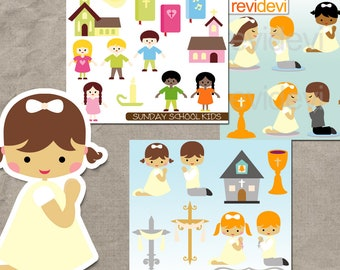 First Communion Collection and Sunday School digital clip art, clipart bundle sale, commercial se / church, praying, bible