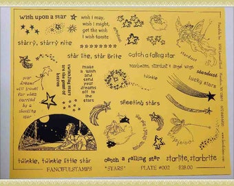 unmounted red rubber stamps stars wish dreams fairy sheet #2