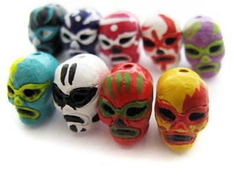 4 Tiny Mexican Wrestler Beads - peruvian, ceramic -  CB959