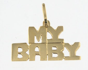 My Baby 14k Yellow Gold Charm Pendant