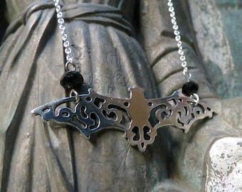 Silver bat Necklace-Bat Necklace-Vampire-Goth-Silver Bat Pendant-Batcave-Bat jewelry-Vampire necklace-Choker-Adjustable-Goth