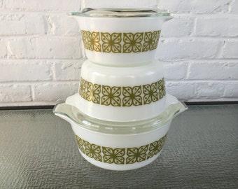 Pyrex Verde Square Flowered Round Casserole Dish Set (#473, #474, & #475)