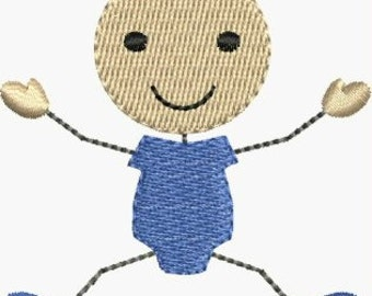 Mini stick figure baby boy machine embroidery designs