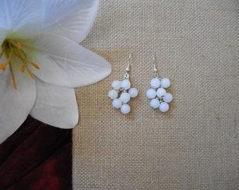 White Bead Chandelier Earrings