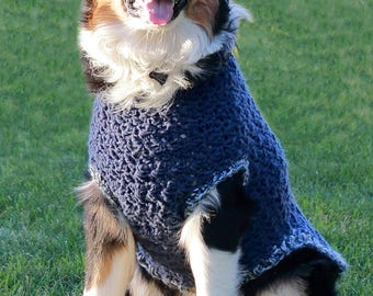 3xl Dog Sweater in Blue - Crochet Dog Clothes - Blue Pet Clothing - Large Breed Dogs - Pet Coat