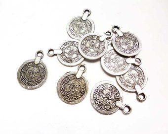 10 Silver Tughra Coin Charms - 27-3