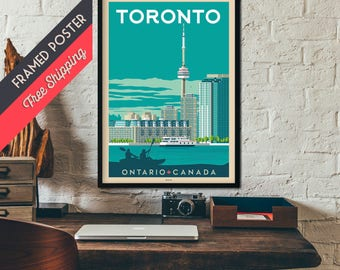 Toronto Canada - Vintage Travel Poster, framed poster, wall art, home decoration, wall decoration, gift idea, retro print