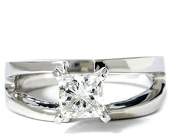 1.00CT Solitaire Diamond Ring 14K White Gold