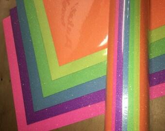 "Glitter heat transfer vinyl Neon 8 color pack 12"" x 20"" / HTV glitter /  Glitter Heat transfer craft /  T shirt Vinyl / Graphic htv"