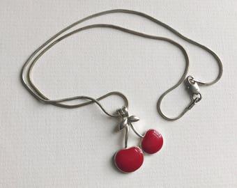Tiny Cherries Enamel Necklace