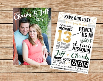 Save the Date, Typography Save the Date, Double-sided Save the Date, Casual Save the Date