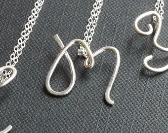 Sterling Silver Initial Necklace- Personalized jewelry -by I Heart This