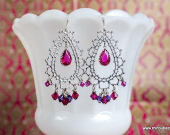 Bollywood Earrings Morocco Bridal Silver Berry Lace by MinouBazaar