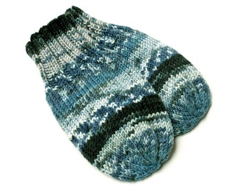 Wool-Free Thumbless Blue Baby Mittens. Hand Knit No Thumb Cordless Baby Mitts. Winter Mittens on String. Infant 9 to 12 Months Hand Warmers