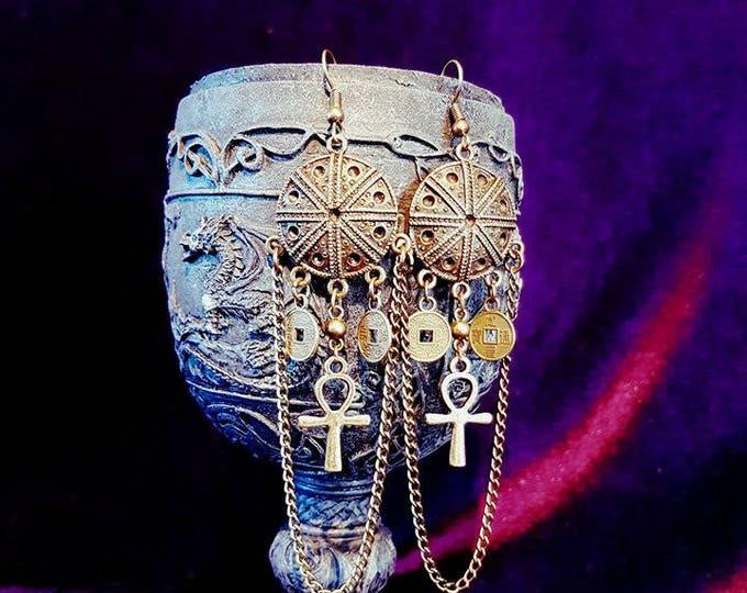 Ankh earrings - boho gothic ankh earrings coins vampire vampiregoth set apep apophis egypt leviathan