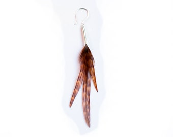 Single Feather Earring in Natural Burnt Orange Ginger with Barred Pattern