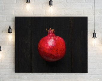 pomegranate v. one // food photography print // kitchen decor // dining room // canvas art // canvas print // rustic farmhouse wall art