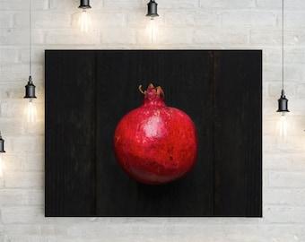 pomegranate v. one // food photography print // kitchen decor // dining room // canvas art // canvas print // rustic farmhouse wall art