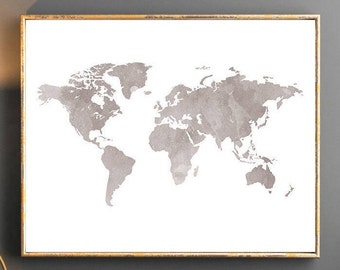Watercolor world map world map wall art world map poster grey watercolor world map world map wall art world map poster grey world map watercolor wallpaper large world map watercolor map grey map travel gumiabroncs Images