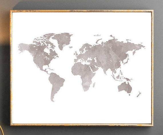 Watercolor World Map Wall Art Poster Grey Wallpaper Large Travel