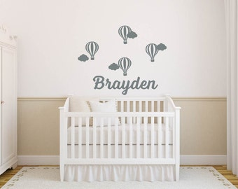 Custom Name personalize Wall Decal Hot Air Balloons Clouds Vinyl Sticker Decor Mural